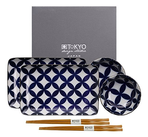 TOKYO design studio Estudio de diseño de Tokio Kotobuki Placa con Palillos hb-5847/B, Porcelana, Azul/Blanco, 21x 13,5cm, Set de 6