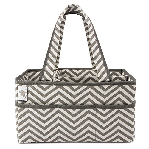Little Grey Rabbit Premium Baby Diaper Caddy | Nursery Storage Bin & Organizer Basket for Infant Items | Holds Diapers, Lotions, Wipes, & More | Perfect Baby Shower Gift | White & Gray Chevron