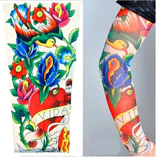 Manicotto Tattoo - Indossabile - Manica - Tatuaggio Finto - Immagine - Scritta Vida - Cuore - Rondine e Fiori - Tatoo - Mezza Manica - Tribale - Idea Regalo Natale Compleanno - W78