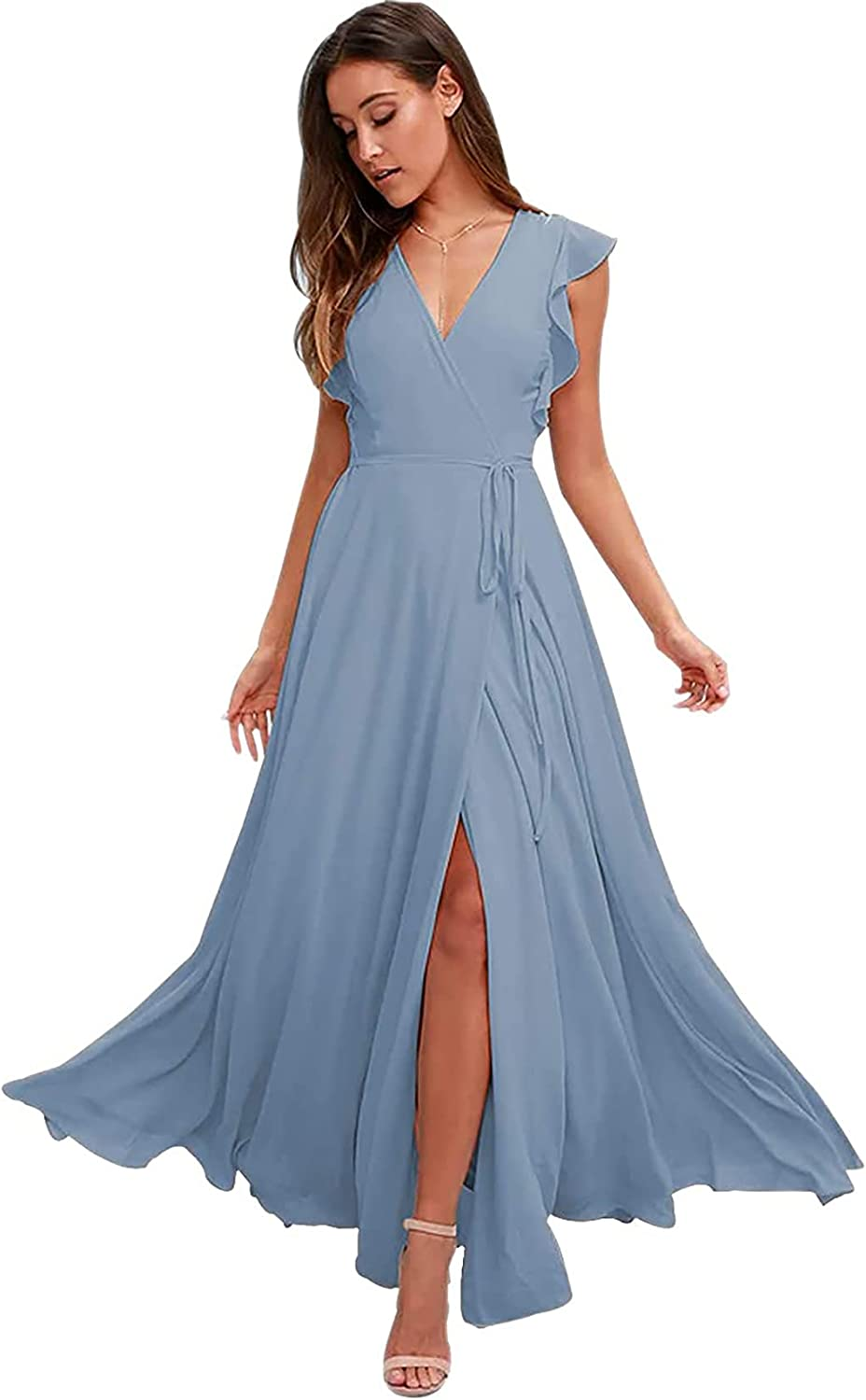 Mcmiya Women's Bridesmaid Dresses with Sleeves Long Chiffon Prom Dress V-Neck Slit A-Line Formal Evening Gown