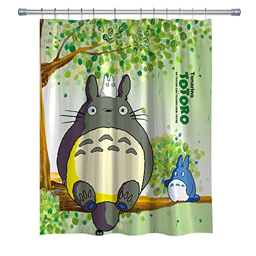 summer007 Totoro Shower Curtain Japanese Anime Character, Polyester Fabric Shower Curtain for Bathroom, Bathroom Accessories with Hooks, 71X 71 in