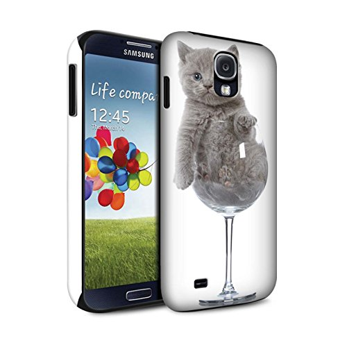 Stuff4 Glanzend Tough Shock Proof Telefoonhoesje voor Samsung Galaxy S4/SIV/Wijnglas Design/Leuke Kittens Collectie