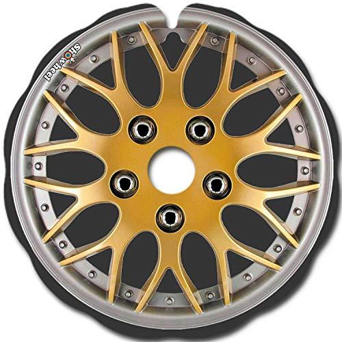 Rollstuhl Speichenschutz (1 Paar) - leicht anzubringen - Geeignet für Greifreifen von 49,51 bis 50,50 cm Außendurchmesser und Flache Befestigungen - 'Enjoliveur metaL gold'
