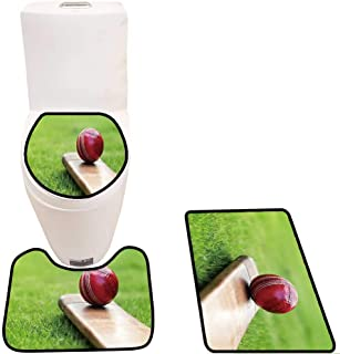 3 Piece Toilet Cover Set Cricket Ball Resting on a Cricket bat on Green Grass of Cricket Pitch 3D Digital Printing Rug Set