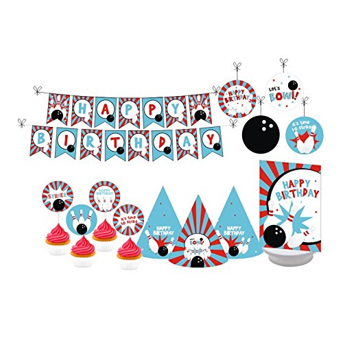 | Bowling Party. Bowling Birthday Decorations for Girls. Bowling Birthday Decorations for Boys. Includes Party Hats, Centerpieces, Bunting Banner, Danglers and Cupcake Toppers