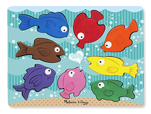 Melissa & Doug houten puzzel met grote delen - bonte vissen (8 delen)