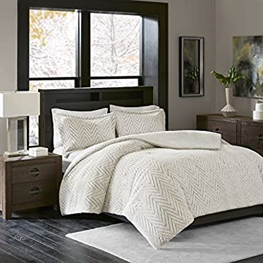 Madison Park Adelyn Full/Queen Size Bed Comforter Set - Ivory, Chevron – 3 Pieces Bedding Sets – Ultra Plush Faux Fur Bedroom Comforters