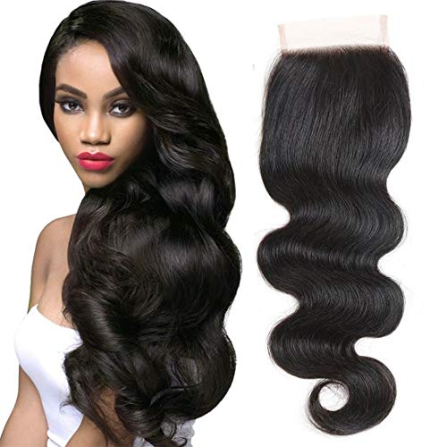 ZXZ Brazilian Body Wave Lace Closure 4x4 Free Part Swiss Lace Closure 130% Density Virgin Remy Human Hair Natural Color (10inch, BODY)