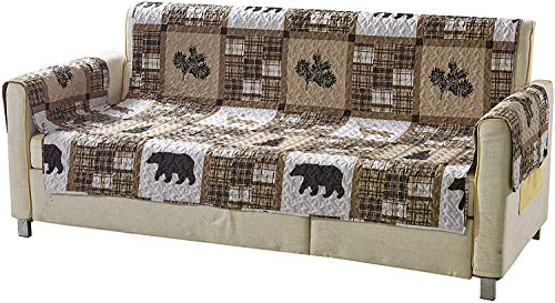 Western Wildlife Cabin Lodge Quilted Couch Sofa Loveseat Armchair Chair and Recliner Slipcover With Patchwork of Grizzly Bears and Plaid Patterns in Taupe Brown and Beige (W1 Brown, Love Seat)