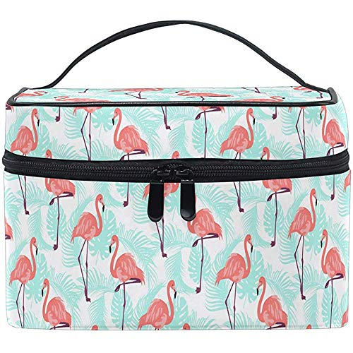 Cartoon Birds Flower Palm Leaves Trocial Cosmetic Bag Travel Cosmetic Brush Bag Storage Organizer