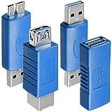 4 Tipi di Adattatori Cavo USB 3.0, AFUNTA USB 3.0 Tipo-A da femmina a femmina / Maschio a Maschio, Tipo A Femmina a Type B Femmina, Micro-B Maschio a TypeA Maschio, Connettore del cavo