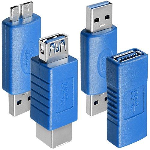 AFUNTA 4 Types D'adaptateurs USB 3.0, USB 3.0 Type-A Femelle à Femelle et Mâle vers Mâle, Type A Femelle à B Femelle, Micro-B Mâle à TypeA Mâle, Haute Vitesse de Conversion Coupleur Connecteur