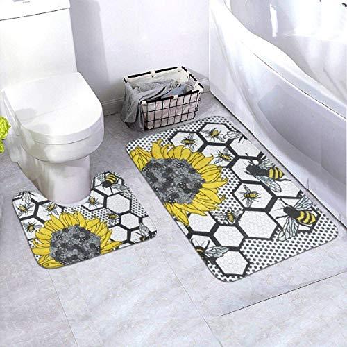 MrRui Zonnebloem Bijenkorf 2-delige badkamertapijtset, niet-slip badmatten en contour badtapijt combo