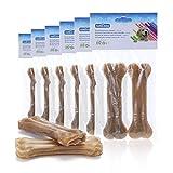 Nobleza - 12 Pezzi Osso Pressato per Cani Pelle Bovina Rinforzante per Denti Bastone Dentale Snack per Cani 12.5 cm