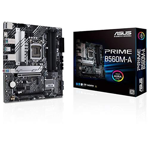 ASUS Prime B560M-A - Placa Base Micro ATX (Intel B560 LGA 1200 con VRM de 8 Fases, PCIe 4.0, Dos Ranuras M.2, 1 GB Ethernet, USB 3.2 Gen. 2 de Tipo C Trasero)