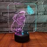 Perro mariposa lámpara de luz visual lámpara de mesa 3D LED lámpara de mesa pequeña interfaz USB lámpara de control remoto táctil luz de noche colorida