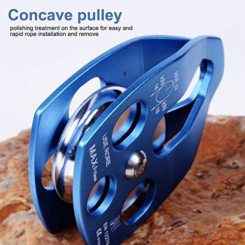 Climbing Single Pulley 28KN Alloy Rescue Pulley with Swing Plate Heavy Duty Single Swivel Rope Pulley Fixed Tree Rock Climbing(Blue)