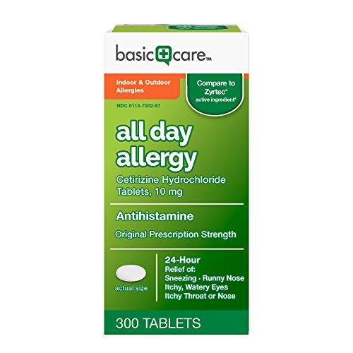 ACTIVE INGREDIENT: The active ingredient in this product is cetirizine hydrochloride, an antihistamine approved for the treatment of both indoor and outdoor allergy symptoms. Compare Basic Care All Day Allergy to the active ingredient of Zyrtec. 24-H...