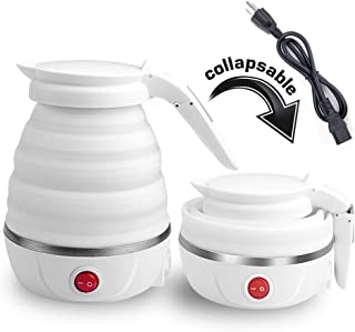 VAlinks Travel Foldable Electric Kettle - Fast Water Boiling - Food Grade Silicone - Small, Collapsible, Portable - Boil Dry Protection - 6 Qt - 110v - 800W - White