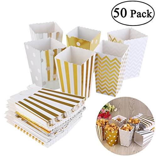 NUOLUX 50pcs Popcorn Boxes,Cardboard Candy Container,Gold and Silver,12x7.5CM