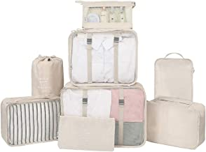 GuaziV 8 Set Packing Cubes Travel Organizer Accessories Waterproof Luggage Lanudry Bag With Hanging Toiletry Bag Cosmetic Bag (8pcs Beige)