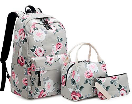 Mädchen Rucksack Set Blumen Schulrucksack Daypack Damen Teenager Reise Schultasche Laptop Backpack für Mädchen Schule 3 in 1 (Grau)