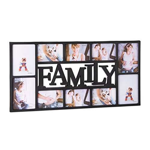 Relaxdays Cadre photos pêle-mêle 10 photos Galerie mur cadre mural Family famille HxlxP: 36,5 x 72 x 2 cm, noir