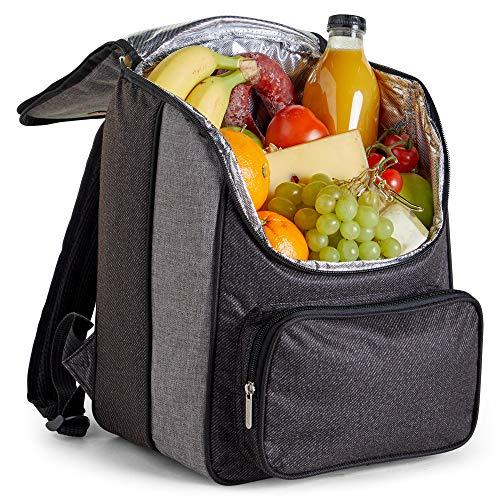VonShef 18L Cooler Rugzak - Lichtgewicht Zachte geïsoleerde Picnic Cooler Bag - Grijs