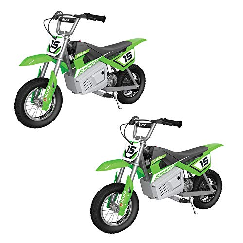 Razor MX400 Kid & Teen Dirt Rocket 24V Ride On High-Torque Electric Toy Motocross Motorcycle Dirt Bike, Speeds up to 14 MPH, Green (2 Pack)