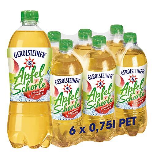 Gerolsteiner Apfelschorle mit 50 % Fruchtgehalt – Natürliches Mineralwasser mit prickelnder Kohlensäure, kombiniert mit leckerem Apfelsaft / 6 x 0,75 L PET Einweg Flaschen