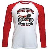 TEESANDENGINES Aprilia Tuono 1000 R - Camiseta de manga larga para hombre, color rojo Blanco blanco S