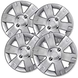 15 inch Hubcaps Best for 2007-2012 Nissan Sentra - (Set of 4) Wheel Covers 15in Hub Caps Silver Rim Cover - Car Accessories for 15 inch Wheels - Snap On Hubcap, Auto Tire Replacement Exterior Cap