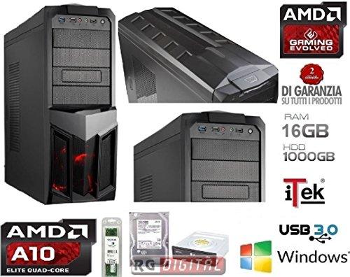 PC DESKTOP GAMING 4.3GHz AMD Quad Core A10 6800K ULTRA VELOCE RAM 16GB , Ufficio, Famiglia, Gamer, Gaming PC Multimedia QUAD CORE AMD A10 6800K 4.3 GHZ ULTRA VELOCE RAM 16GB 1600 MHZ/HD 1TB SATA III/Scheda grafica integrata AMD Radeon HD 8670D/USCITE HDMI,VGA,DVI, USB 2.0 3.0 iTeK PLANET COMPLETO