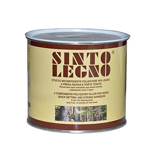 Sintolit stucco bicomponente per legno 750ml forte tenuta restauro fai da te (Legno chiaro)