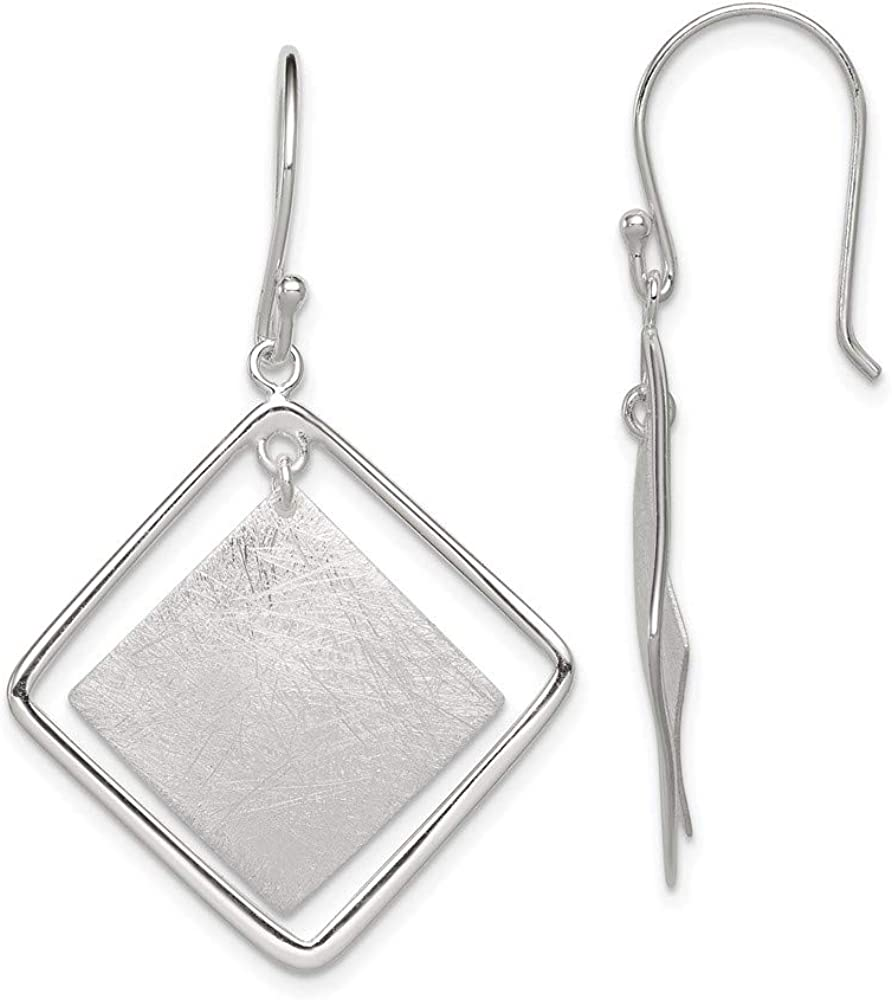 925 Sterling Memphis Mall Silver Textured Squares Dangle Chandelier Earr Drop Popular standard