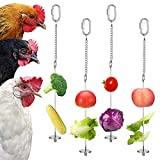 Veraing 4Pcs Chicken Veggies Skewer Fruit Holder, Stainless Steel Hanging Feeder Chain Vegetable Hanging Coop Toy for Hens Pet Chicken Bird Parrot, 2 Sizes