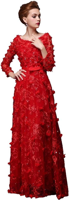 BeautyEmily Flower Lace Long Sleeve SeeThrough Pearl Evening Dress