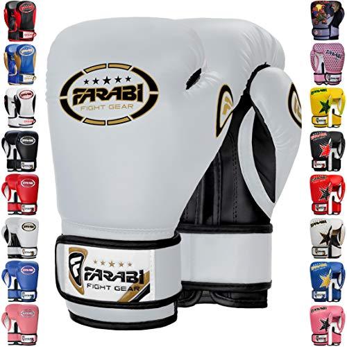 Farabi Boxing Gloves Kids Junior Muay Thai Kick Boxing Training MMA Punching Gloves (White, 6OZ)