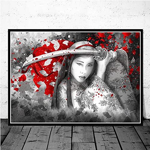 Kit De Pintura 5D De Diamantes,Japonesa Samurai Series Geisha Diy Round Diamond Painting Por Números, Pedrería Bordado Cuadros De Punto Cruzado Artesanías Juegos De Padres E Hijos, Para Regalo