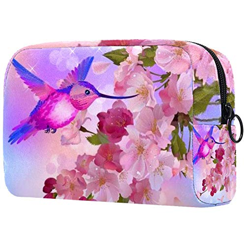 Sac cosmétique printemps griffonnable fleurs cœurs et papillons
