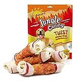 Jungle Calling Cuero Hueso Masticado de Perros 6.5 Pulgadas Pack de 4, Pollo Envuelto Rawhide Huesos con Nudos