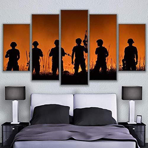JYXJJKK 5 pintura de lienzo de decoración del hogar 100 * 50 CM marco+ lienzo Soldado silueta atardecer paisaje Niños Adultos Padres Sala de estar Hogar Comedor Salón Regalos Halloween Acción de graci