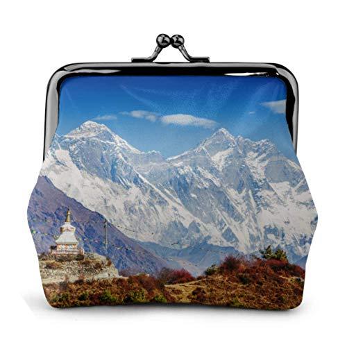 Portamonete Bellissimo paesaggio Montagne dell'Himalaya Tenzing Fibbia buddista Portamonete in pelle Portamonete Portamonete con portachiavi Portamonete Kiss-lock Wa