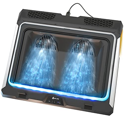 KLIM Mistral Laptop Kühler | Leistungsstarker Turbo-Ventilator (4500 U/min) | Gummiringdichtung für maximale Leistung | Vermeide Überhitzung und schütze Dein Gaming Notebook | 14-17 Zoll | NEU 2021