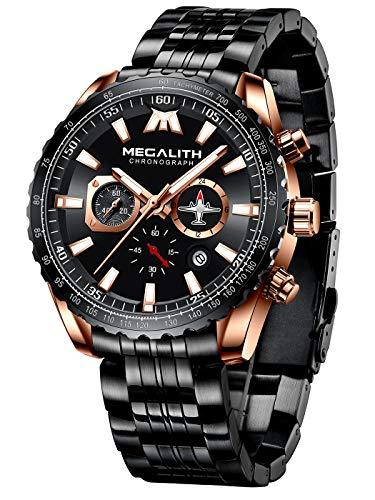 MEGALITH Herrenuhr Militär Schwarz Armbanduhr Edelstahl Große Chronographen Wasserdicht Business Uhren fur Männer Kleid Leuchtend Analog Datum