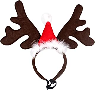 Zafina-UP Pet Christmas Headband Hat Costume Reindeer Antlers with Santa Claus Cap Head Hoop Caps for Small and Medium Dogs Cats Adjustable