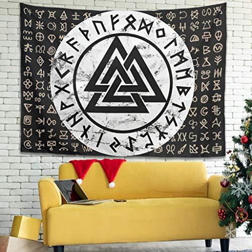 Facbalaign Tapiz vikingo Totem respetuoso con el medio ambiente, para salón, dormitorio, 200 x 150 cm, color blanco
