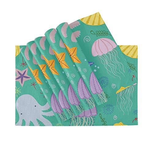 Juego de 6 manteles individuales, manteles individuales lavables con aislamiento térmico, conchas de pulpo con diseño de mar, estrella de mar, 18 x 12 pulgadas, mantel individual para mesa de cocina