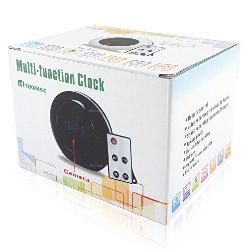 TEKMAGIC 8GB Weitwinkel Versteckte Spionkamera Digitaluhr Spycam Wecker Unauffällige überwachungskamera mit Bewegungsmelder ton Aufzeichnung Fernbedienung