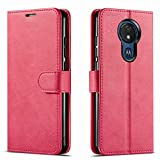 STARSHOP - Moto G7 Play Case, [NOT FIT Moto G7 / G7 Power] Included [Tempered Glass Screen Protector], Starshop Premium Leather Wallet Pocket Cover And Credit Card Slots - Pink